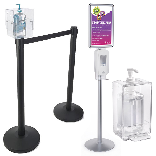 Waiting room hand sanitizer containers and floor stations