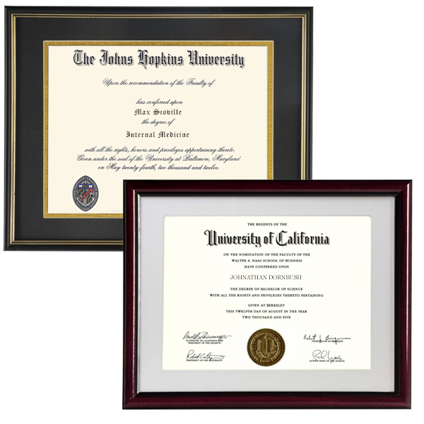 Medical office reception diploma frames for 8.5x11 and 11x14 documents