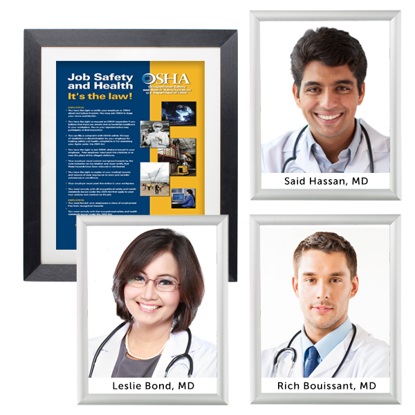 Medical office reception picture frames identify doctors and medical staff