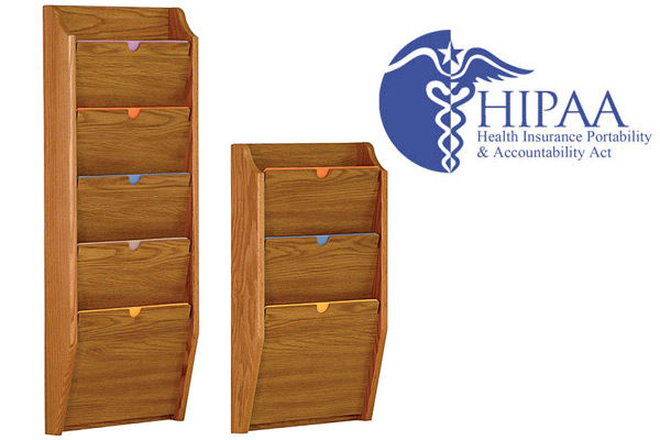 Hospital nurse station furniture like HIPAA compliant file folders make organization of patient history