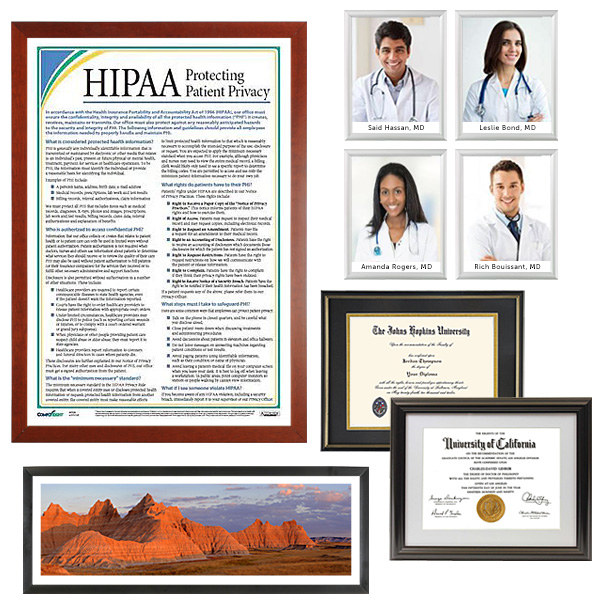 Doctors office waiting room picture and diploma frames