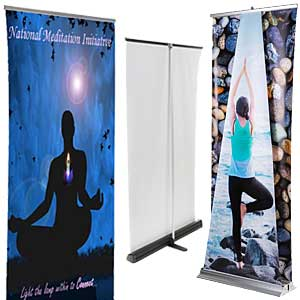 Doctors office waiting room advertisement banner stands