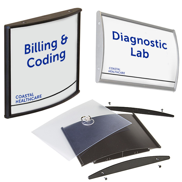 Medical office reception curved wall signage kits