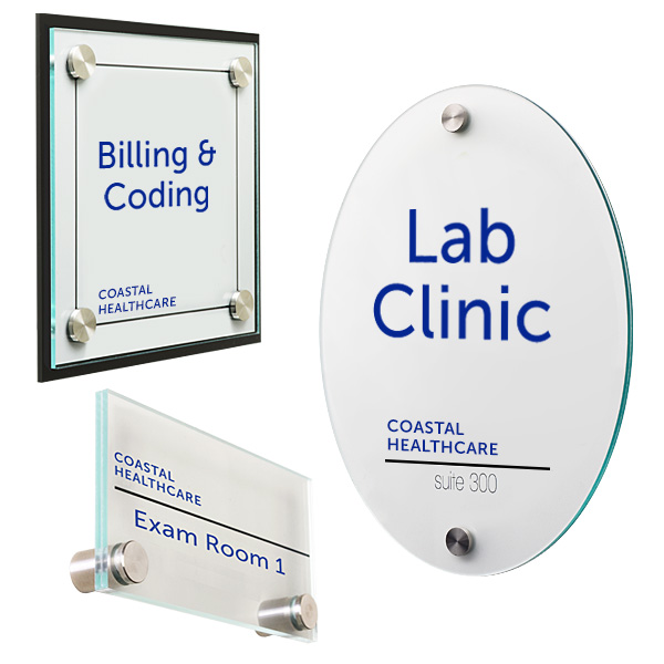 Medical office reception acrylic sign kits for wayfinding information
