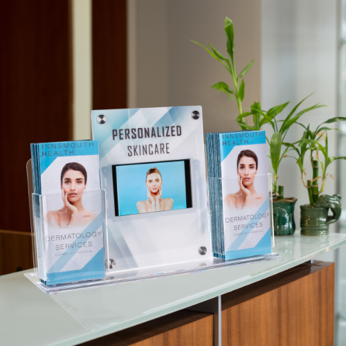 Countertop brochure holder with digital signage for waiting room