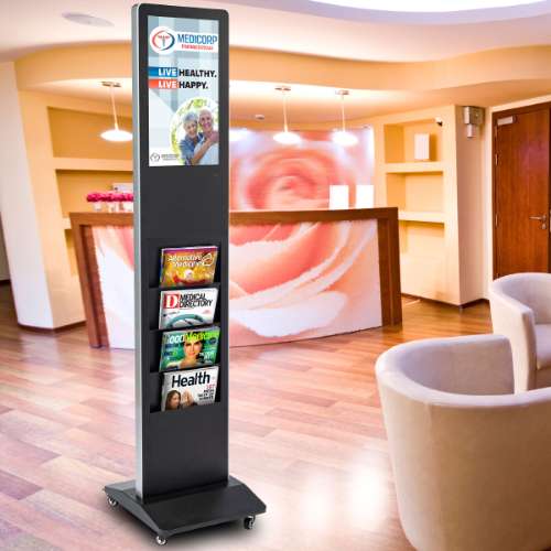 Doctors office magazine holder with digital signage for waiting room advertising