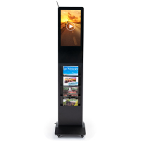 Doctors office waiting room floor standing literature holders with digital signage display