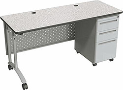 Height adjustable desk with wheels