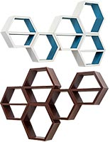 Wall mount hexagon-style shelves for spas and salons