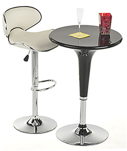 highboy cocktail table shown with pub-height stool