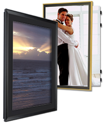 poster cases frames w swinging doors for easy graphic updates