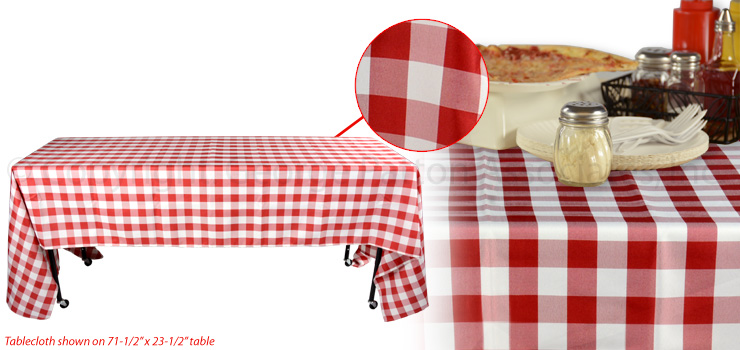 Italian Restaurant Tablecloth | Red & White for Rectangular Tables