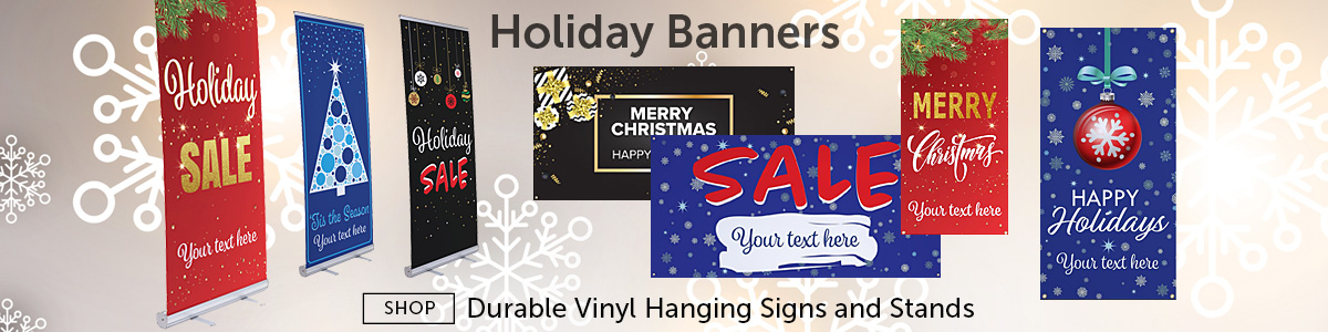 Group of Pre-Printed Holiday Vinyl Banners for Retail Marketing