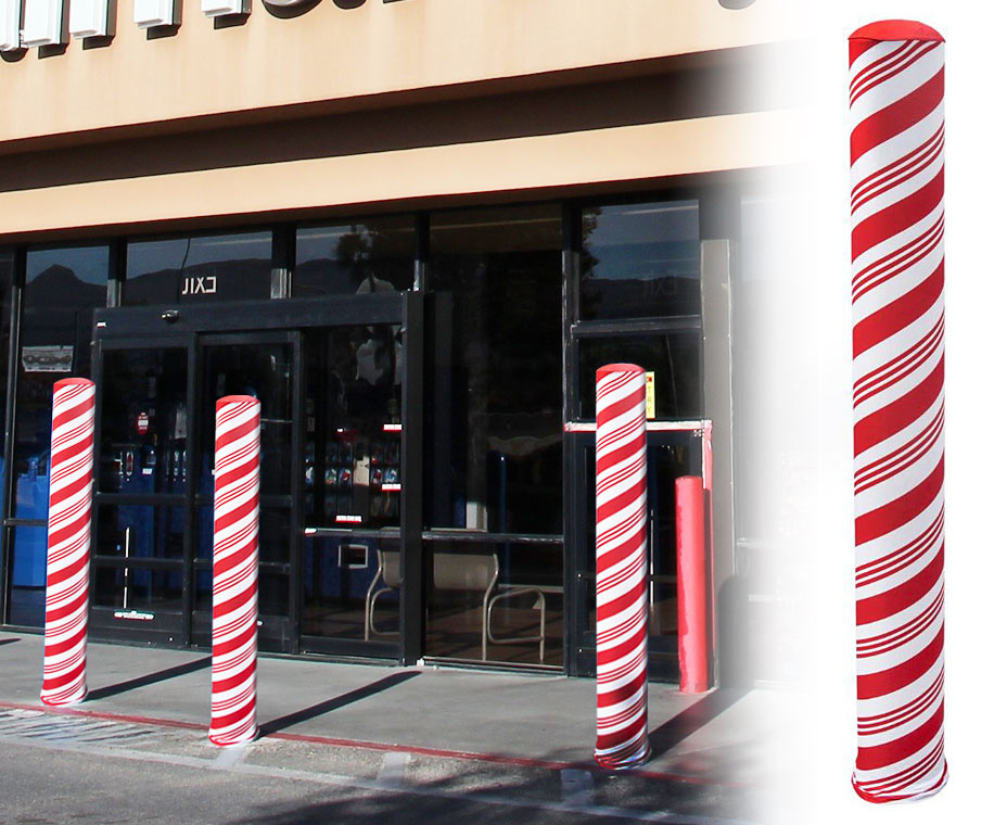 Holiday themed bollard covers