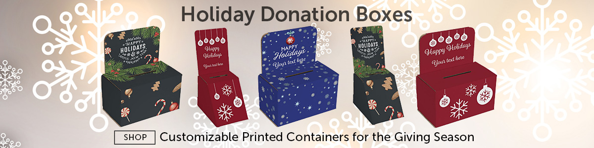 Group of Pre-Printed Holiday Donation Boxes for Charitable Giving
