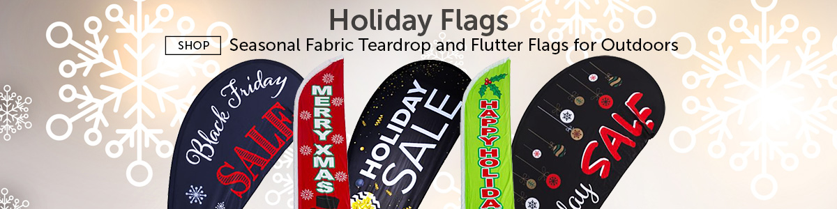 Group of Pre-Printed Holiday Flags for Retail Marketing