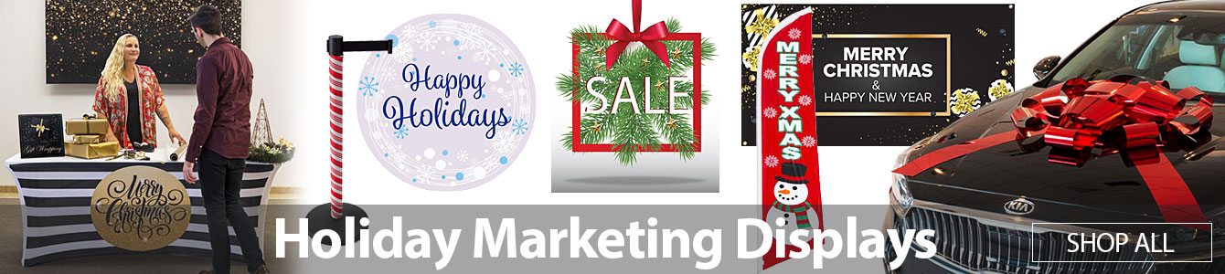 Prepare your store for the upcoming holiday shopping season with stock holiday marketing displays!