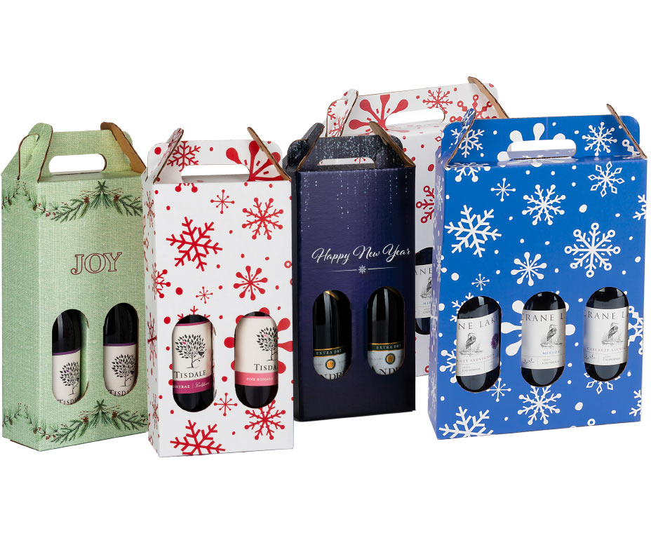 Holiday themed cardboard wine carriers