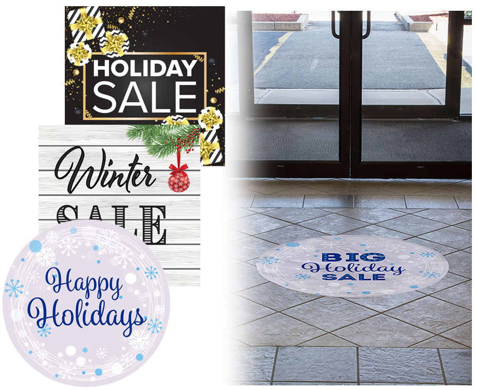 holiday window clings and floor decals