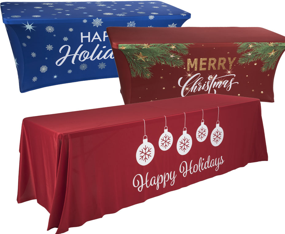 Holiday themed table covers