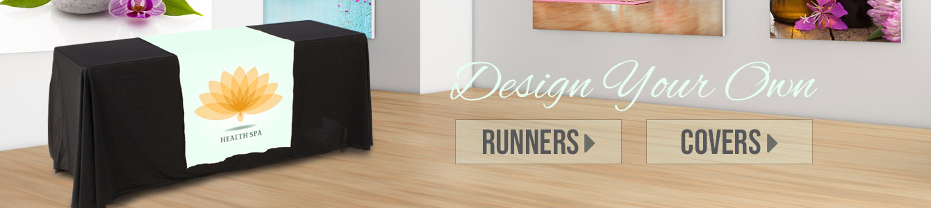 Create your own custom-printed table cover or runner with our easy-to-use design tool!