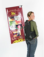 Advertising backpack signage set with backpack and poles