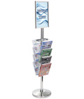 17 X 11 Stanchion Sign with Literature Rack for Waiting Areas