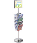 Sleek 11 x 17 Floor Sign Stanchion with Magazine Rack
