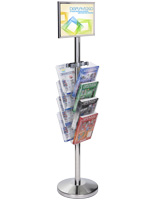 11 x 17 Floor Sign Stanchion with Magazine Rack for Entrance Ways