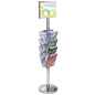 11 x 17 Floor Sign Stanchion with Magazine Rack, Steel