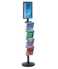 "11"" x 17"" Sign Post with 4 Clear Literature Pockets, Top Insert"