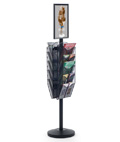 "11"" x 17"" Sign Post with 10 Mesh Literature Pockets, Black"