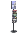 "11"" x 17"" Sign Post with 5 Mesh Literature Pockets"