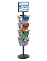 "17"" x 11"" Sign Post with 8 Clear Literature Pockets, Weighs 27.5 lbs"