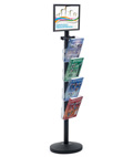 "17"" x 11"" Sign Post with 4 Clear Literature Pockets, Stainless Steel"