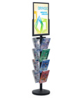 18 x 24 Sign Post with 8 Clear Literature Pockets, Stainless Steel