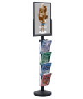 18 x 24 Sign Post with 4 Clear Literature Pockets, Floorstanding