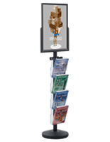 18 x 24 Sign Post with 4 Clear Literature Pockets, Stainless Steel