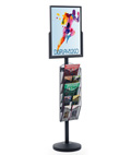 "18"" x 24"" Sign Post with 5 Mesh Literature Pockets, Black"