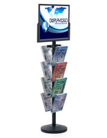 "24"" x 18"" Sign Post with 8 Clear Literature Pockets, Top Insert"