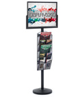 "24"" x 18"" Sign Post with 5 Mesh Literature Pockets, Double Sided"