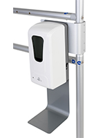 Metal drip tray & clip with non-touch sanitizer dispenser for banner stand