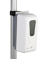 Hand sanitizer dispenser with pole clamp and easy no tool assembly