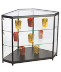 "LED Glass Counter Corner, 38"" Overall Height"