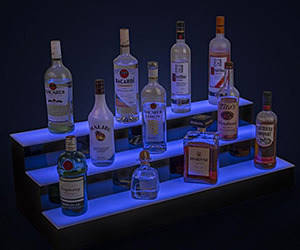 Illuminated Bottle Shelves | Lighted Base LED Glorifiers for