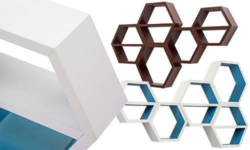 Honeycomb wall shelving