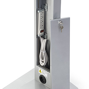 Navigator iPad stand with rear open access panel showing the integrated power strip