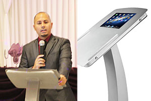 iPad podium stands for public speaking