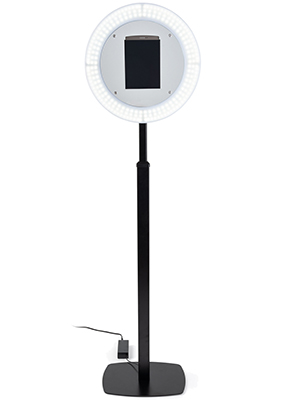 Lightweight iPad photo booth stand with light ring