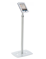 Silver Finish Height Adjustable iPad Donation Kiosk